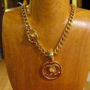 Vintage Chunky CHANEL Double C Turn Lock Necklace